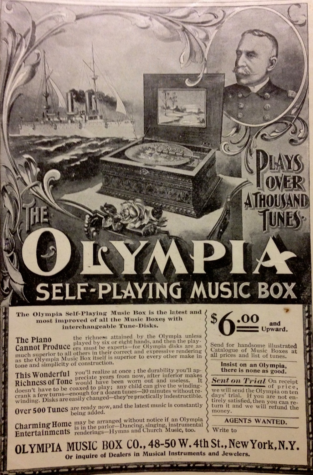 Music box advertisment using OLYMPIA and Dewey images