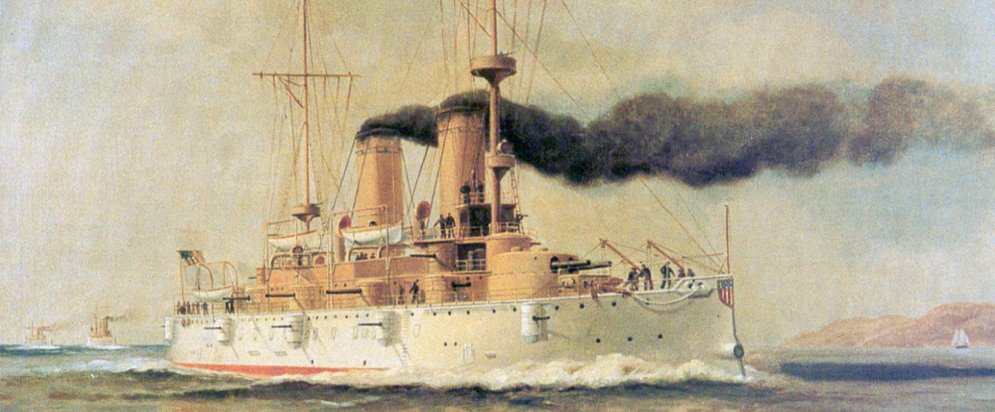 Flagship OLYMPIA: an illustration of the ship at sea.