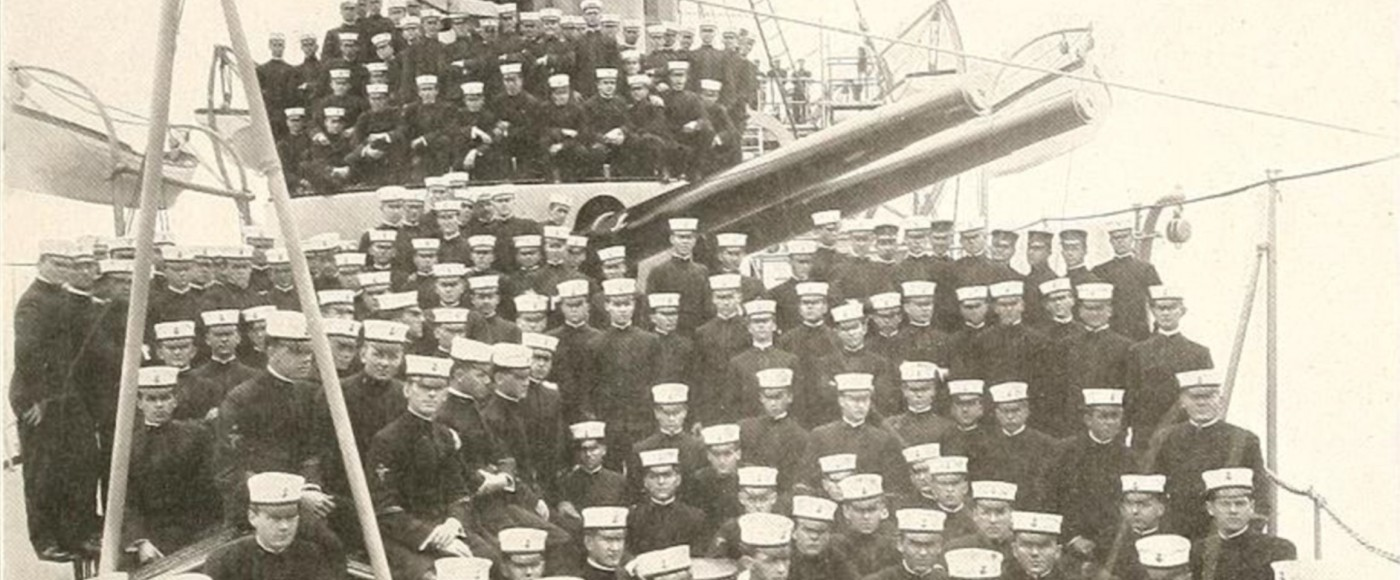Naval Cadets on Olympia decks 1908